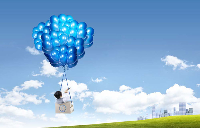 创意气球与小男孩psd素材