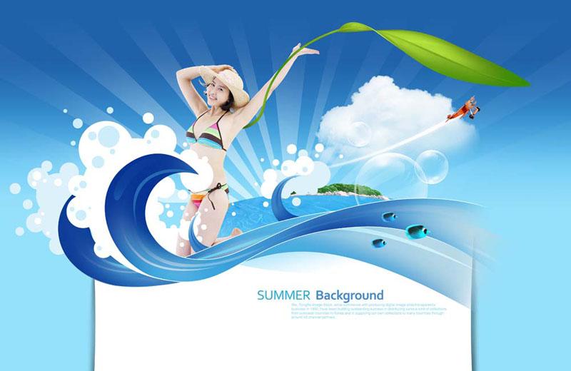 比基尼女孩海浪模板PSD素材 爱图网设计图片