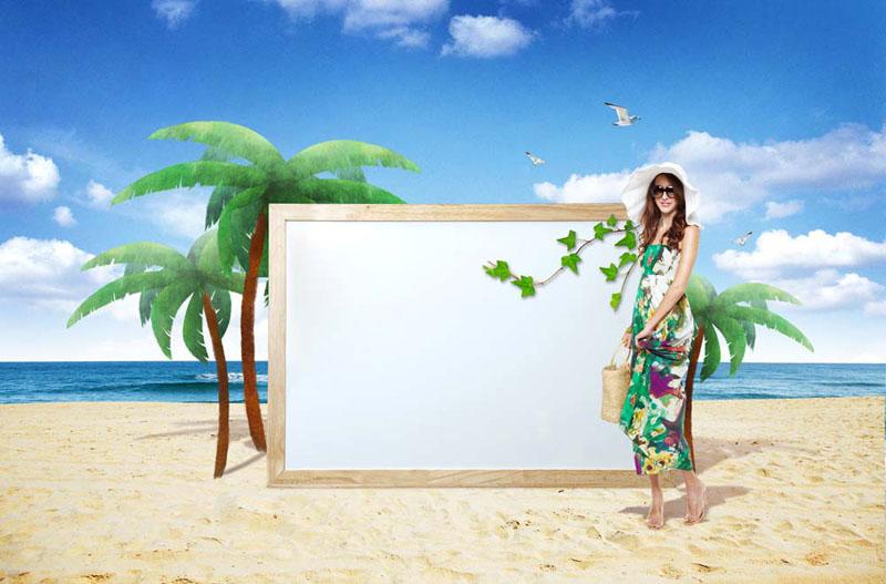 夏日沙滩美女广告牌psd素材