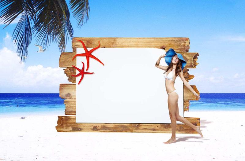 沙滩木板广告牌与美女psd素材