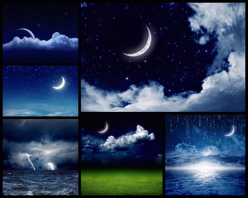 夜色月亮景观摄影高清图片