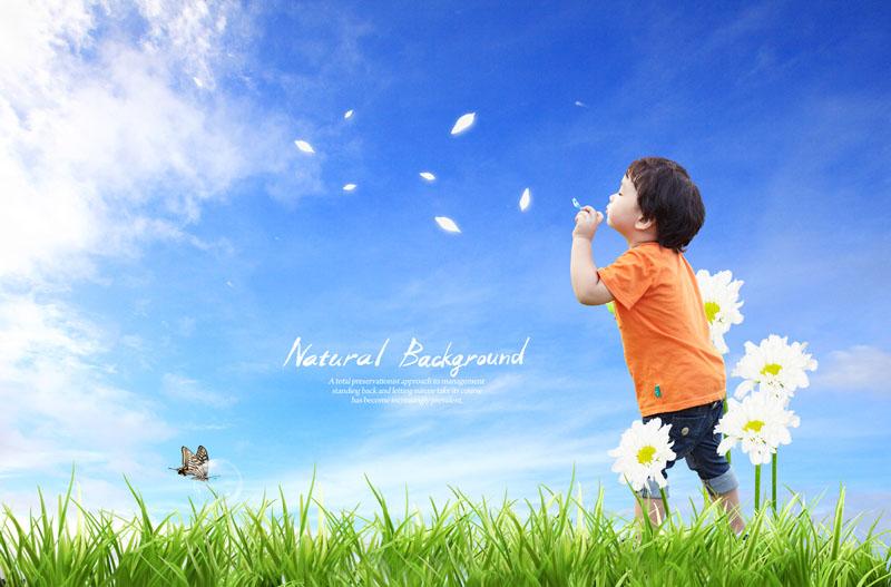 蝶泡泡小男孩小男生风景