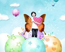 素材/梦幻翅膀小女孩PSD素材