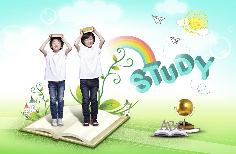 小天使孩子与爱心树psd素材 玩棋子的小孩子psd素材  关键字: 春天
