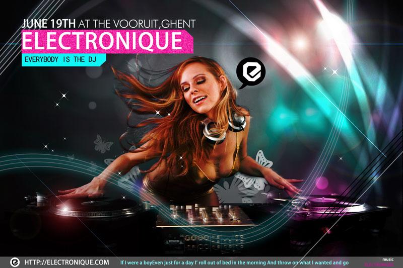 酒吧广告ktv广告性感美女女孩打碟音乐海报