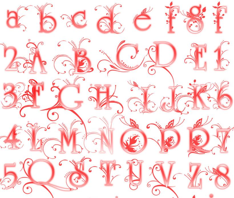 大气的花纹装饰字母笔刷