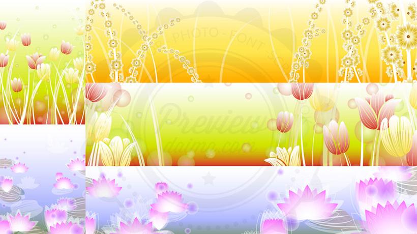 荷花郁金香花卉背景矢量素材