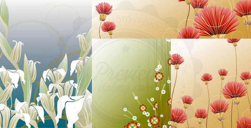 百合花花卉背景矢量素材