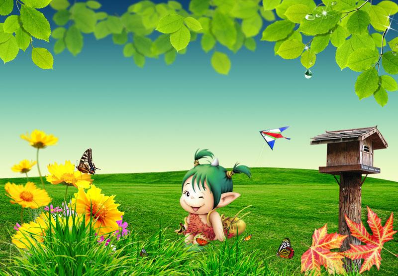 蝴蝶卡通小孩春天海报春季素材春姿绽放自然风景psd