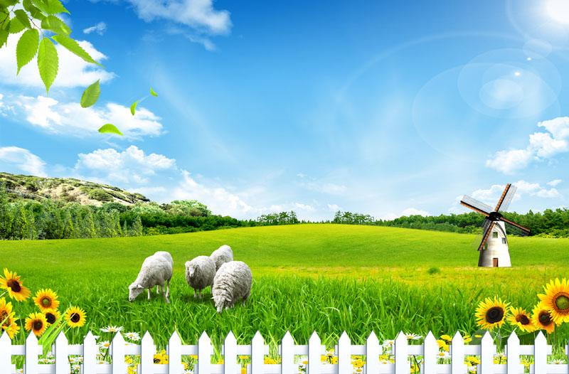 草原护栏自然风景psd素材 - 爱图网设计图片素材下载