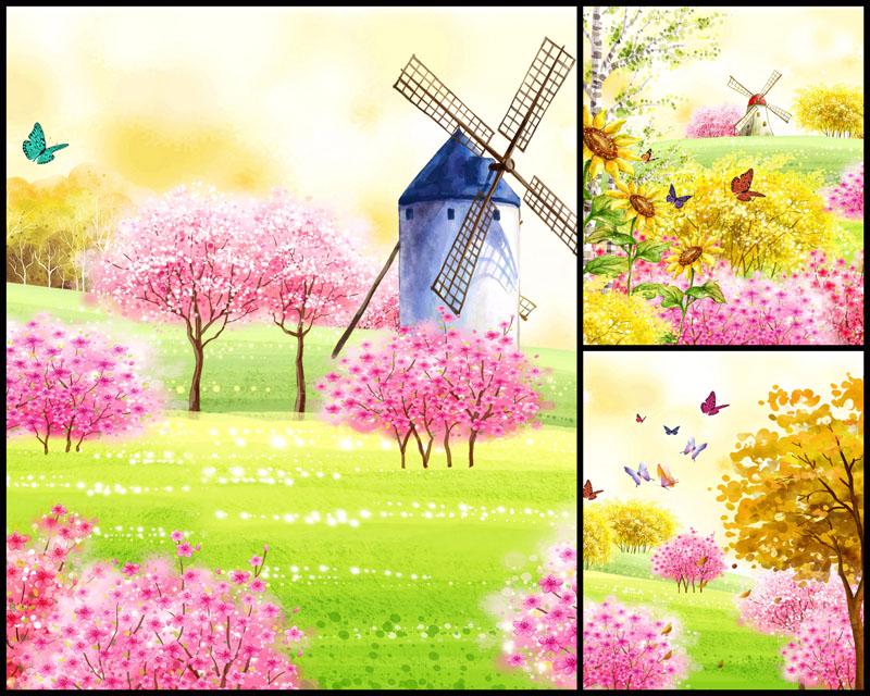 春天风景风车壁画高清图片