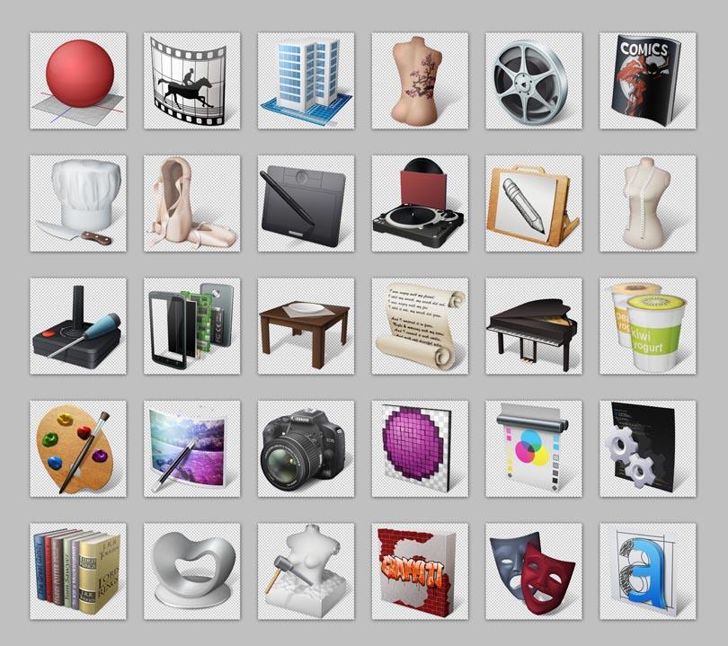 设计高楼相机字母心形绘画png图标png素材免费图标