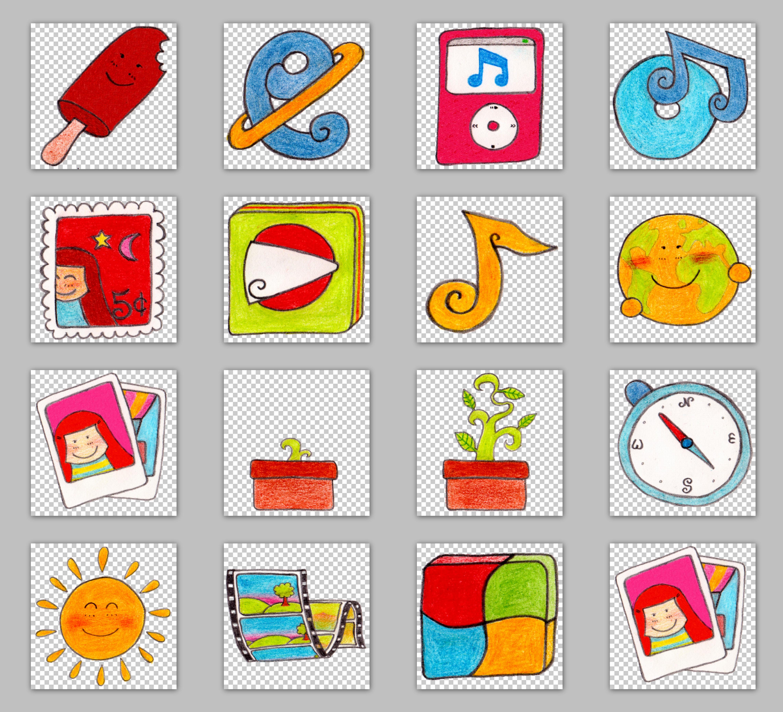 地球儿童画卡通太阳邮票绘画图标涂鸦图标手绘图标