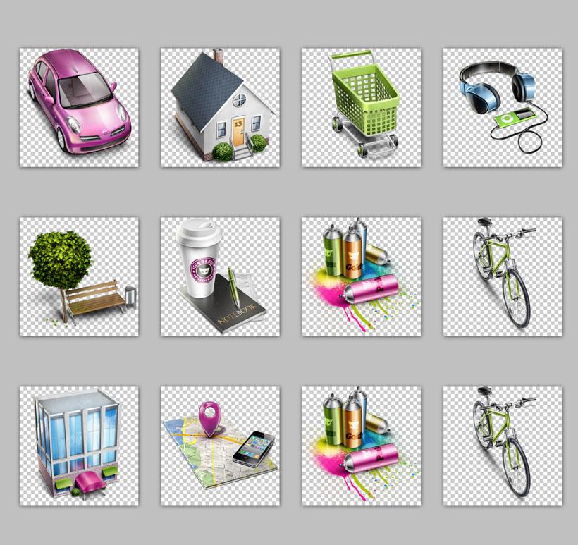 油漆自行车手机地图大厦家png图标png素材免费素材