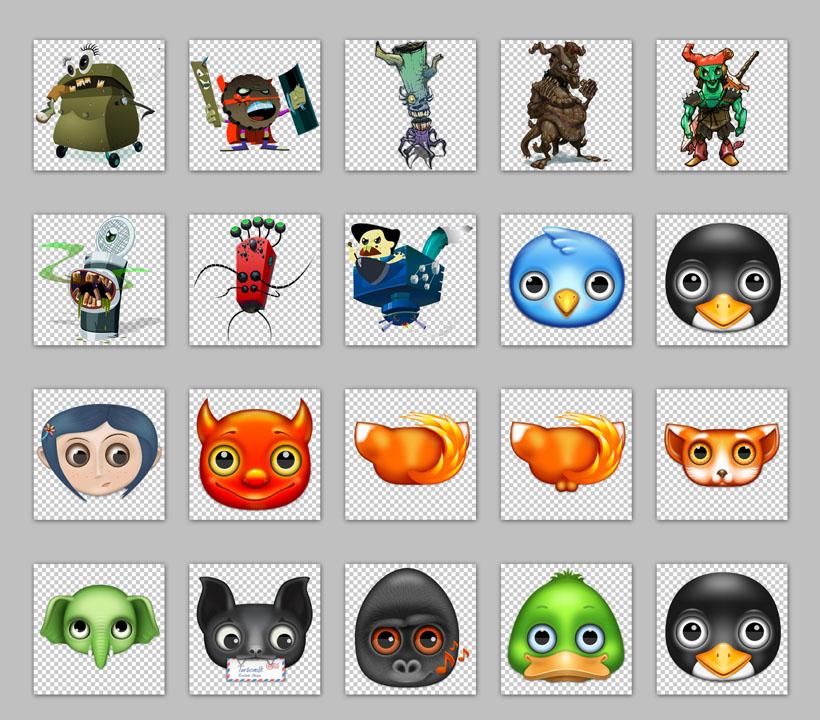 小动物与怪物png图标 - 爱图网设计图片素材下载