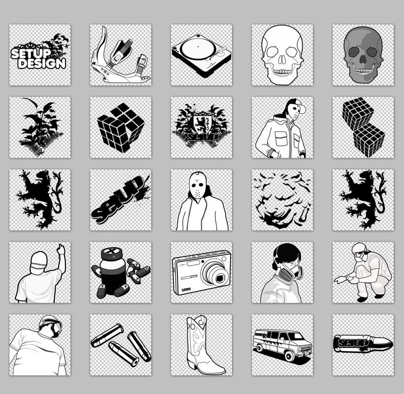 黑白手绘风格电脑png图标