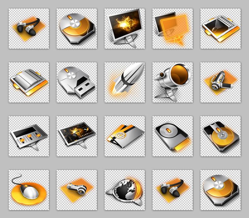 金色电脑硬件png图标 - 爱图网设计图片素材下载