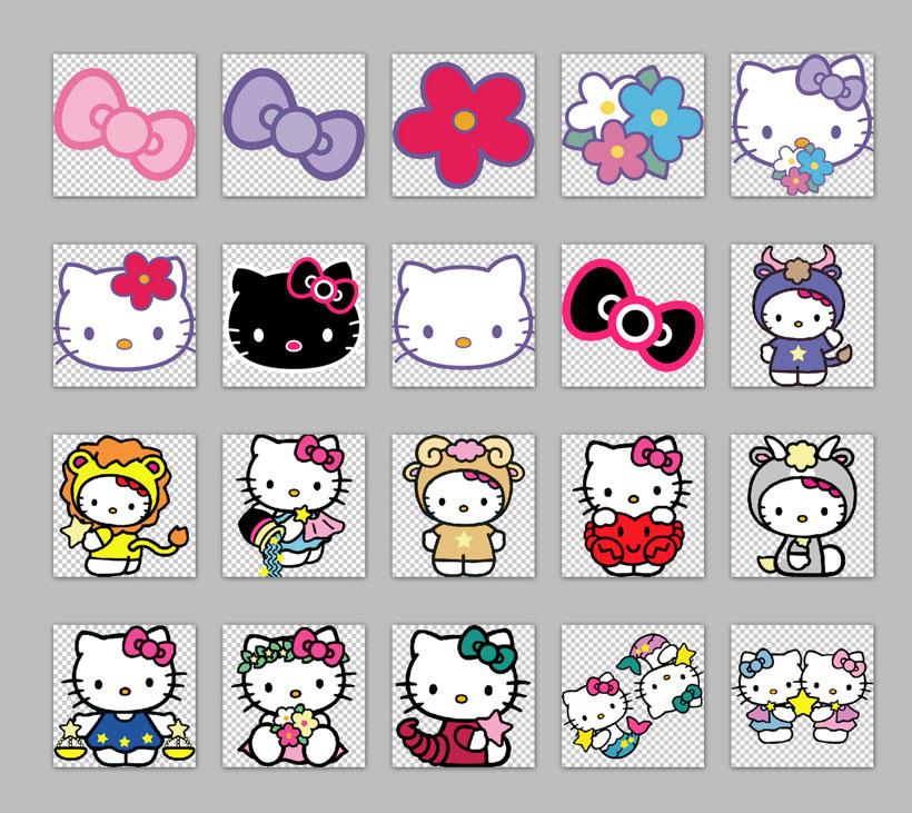 座金牛座射手座蝴蝶结花朵情侣猫咪猫咪可爱卡通图标png素材png图标