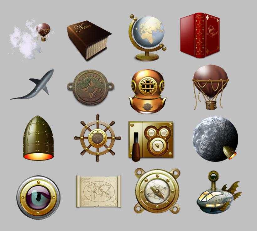 古代热气球和指南针png图标