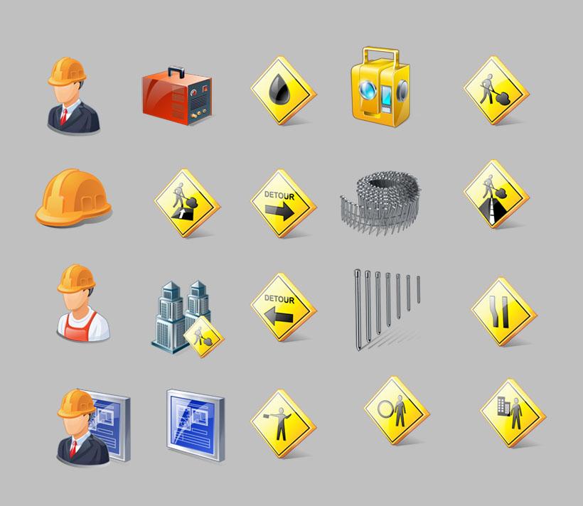 建筑工地施工标志png图标 爱图网设计图片素