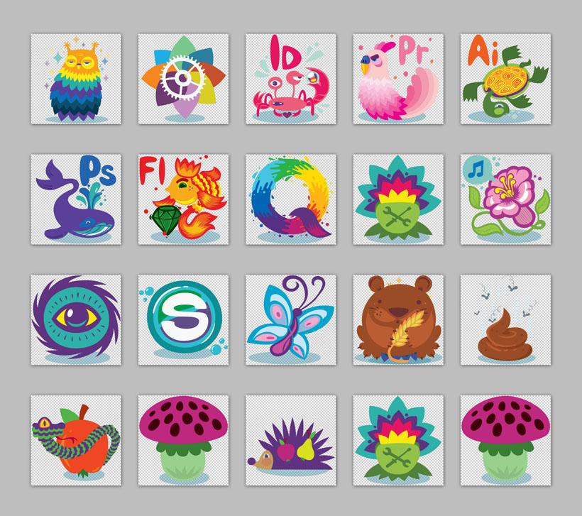 卡通风格动物与植物png图标