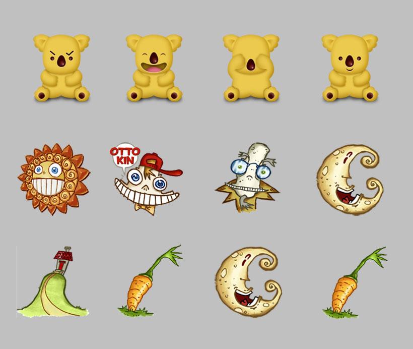 卡通动物和植物png图标