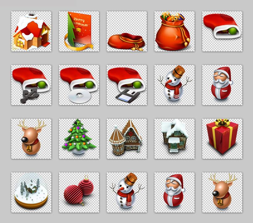 圣诞树和圣诞礼物png图标