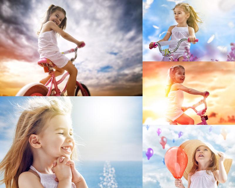 天空下可爱的小女孩高清图片