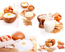 鸡蛋面粉早餐奶摄影图片图片