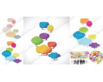 素材 人物/商业人物剪影与对话框矢量素材