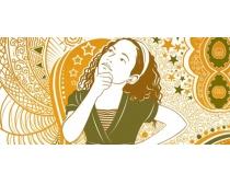 素材 人物/思考的女性油画人物PSD素材