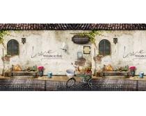 素材/房屋复古墙壁背景PSD素材