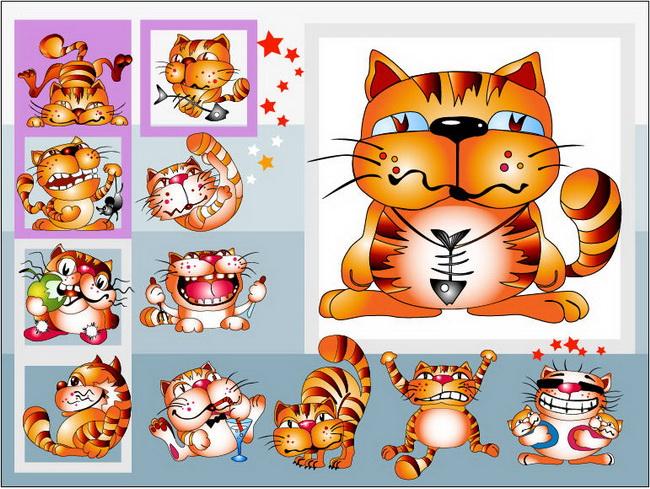 超酷的卡通猫矢量素材