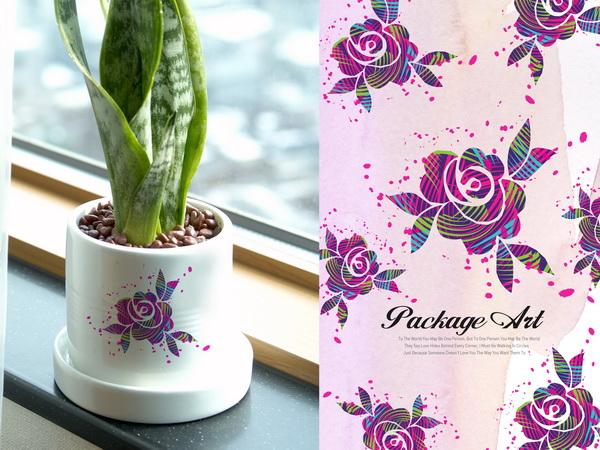 小花盆印花图案素材