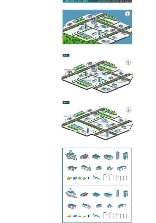 矢量卡通建筑与地图素材
