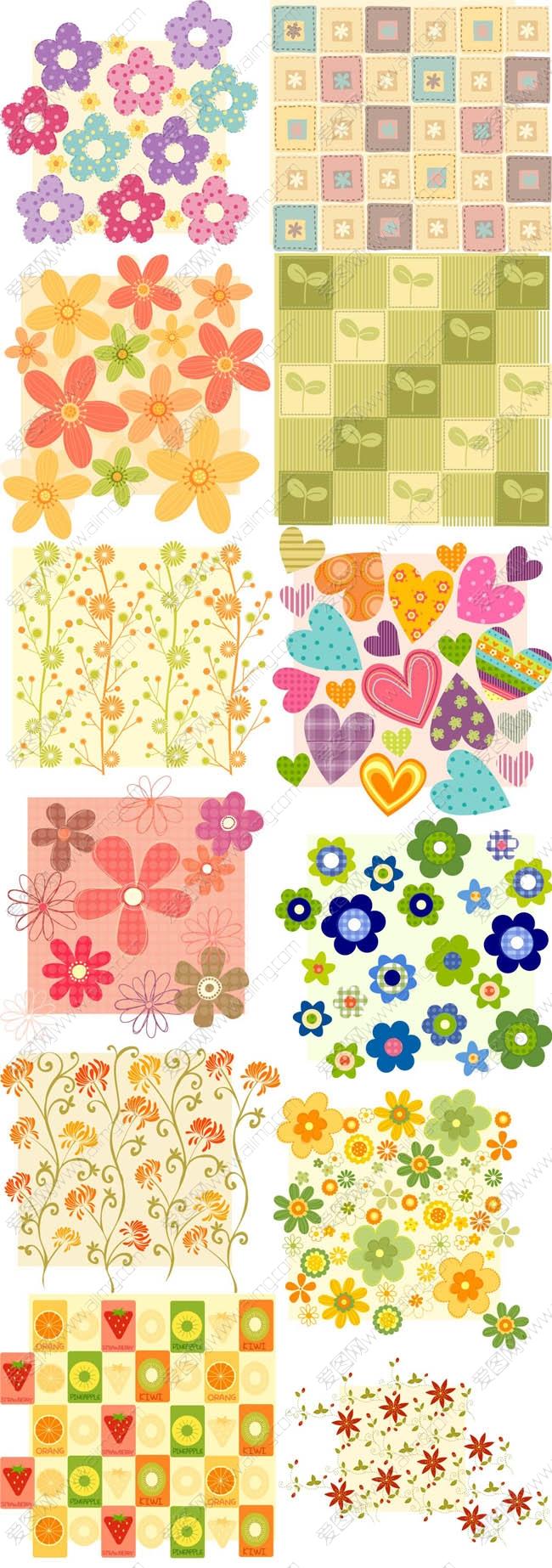 23款可爱的花纹底图矢量素材