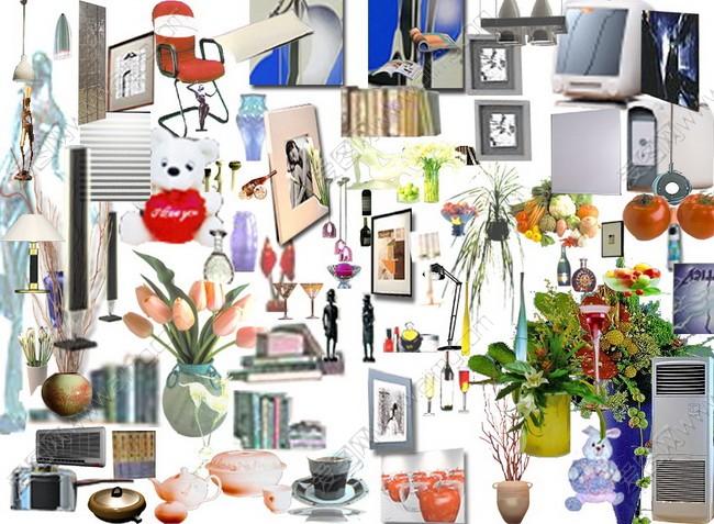 关键字: 室内效果图装饰品家具洗衣机电脑锅花相框台灯空调茶psd分层
