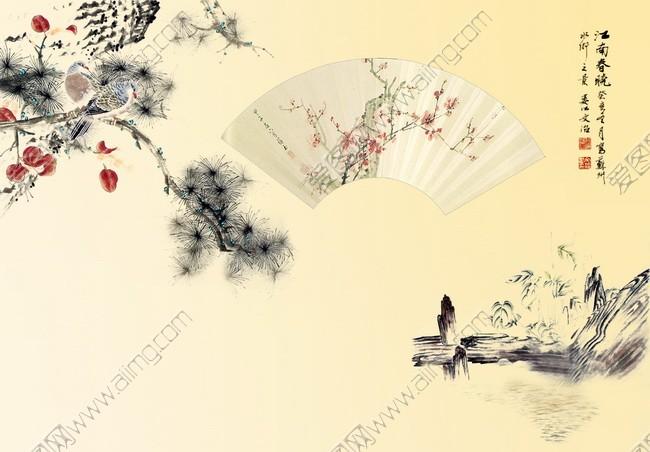 中国风古文化展板模板psd素材 富贵吉祥九鱼图psd素材 万马奔腾骏马图