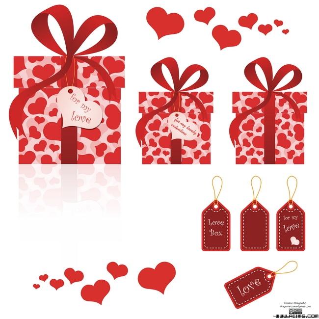 情人节礼物盒与爱心吊牌矢量素材