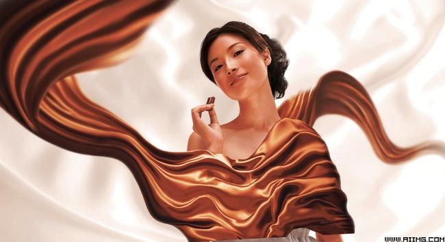 巧克力美女psd分层素材