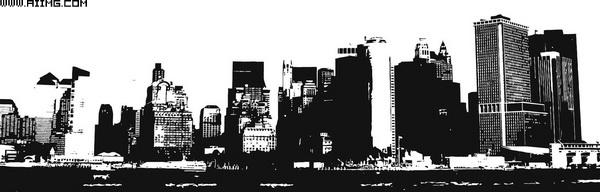 29款城市建筑剪影矢量素材