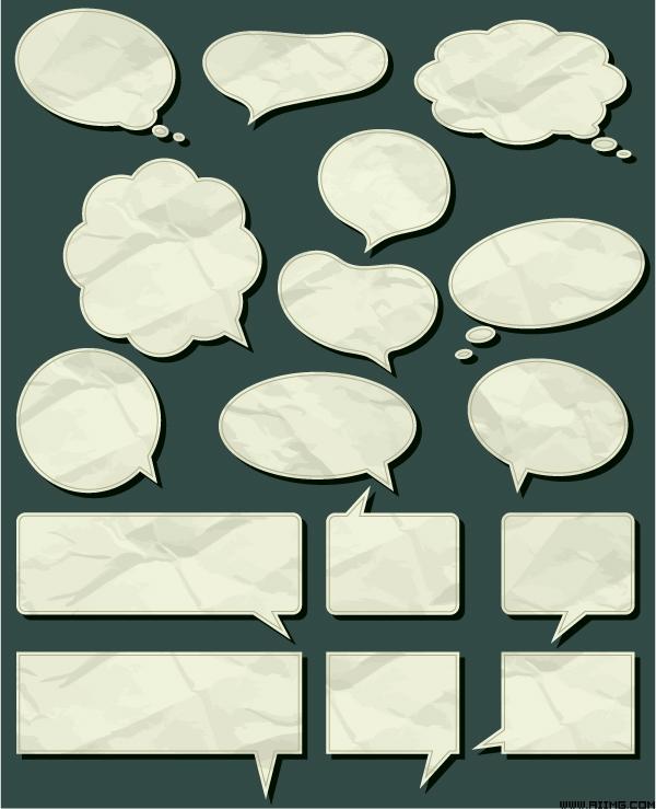 淡雅简约方形对话框矢量素材