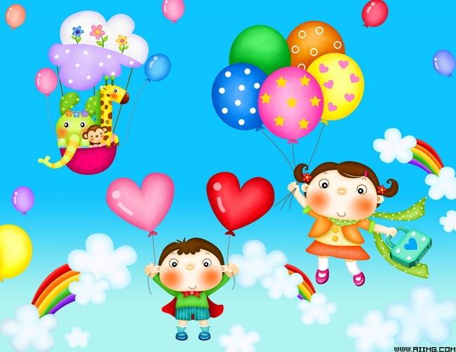 云朵爱心气球可爱小孩卡通小孩男孩女孩psd分层素材