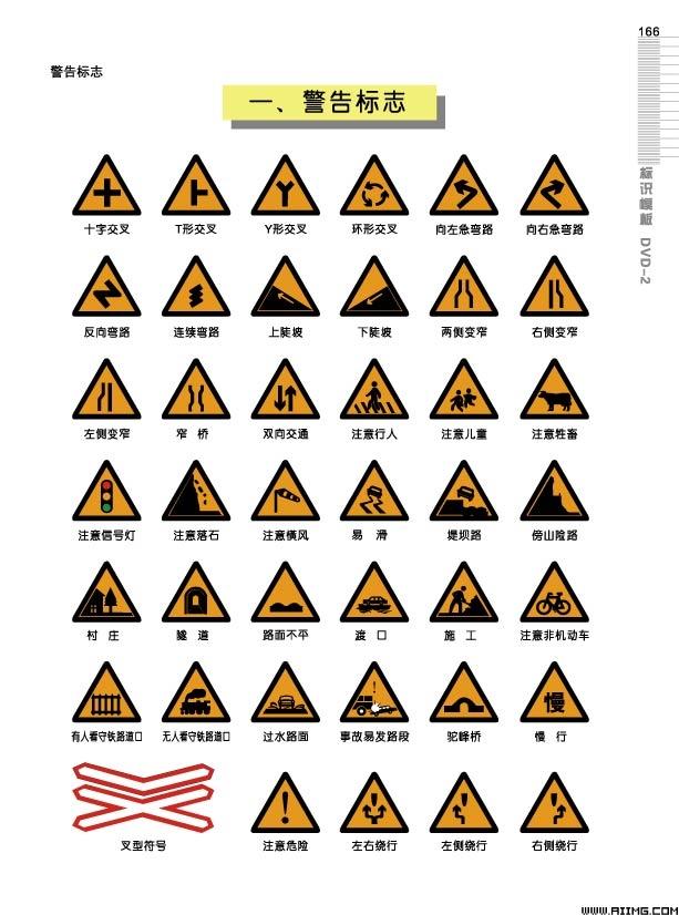 道路警告标志矢量素材