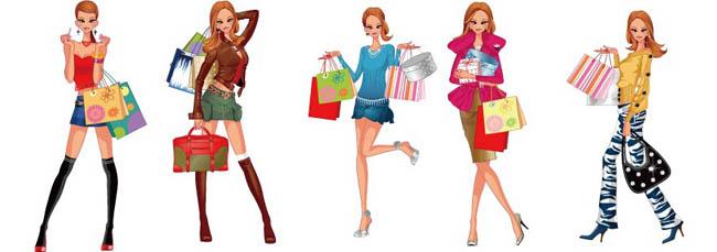 时尚购物美女矢量素材