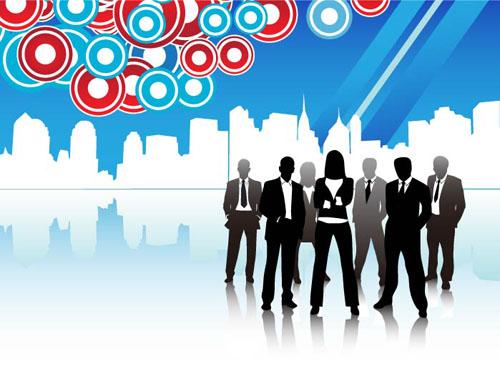 8款商务人士与城市建筑剪影矢量素材