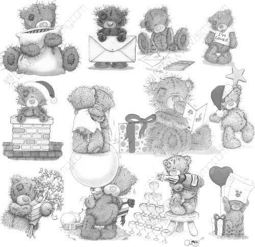泰迪熊素描图片步骤图片