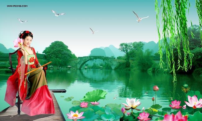 荷花美女风景图片