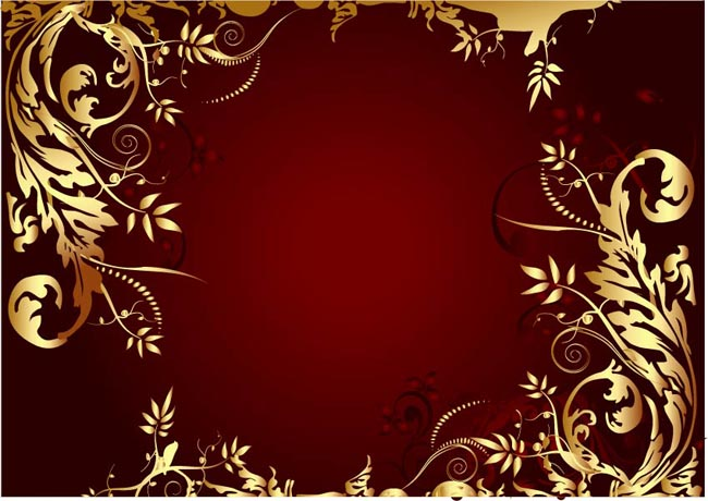 手绘藤蔓  橘红色花朵
