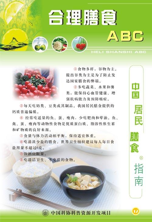 cdr格式,含jpg预览图,关键字:合理膳食展板 营养  合理搭配 展板模板